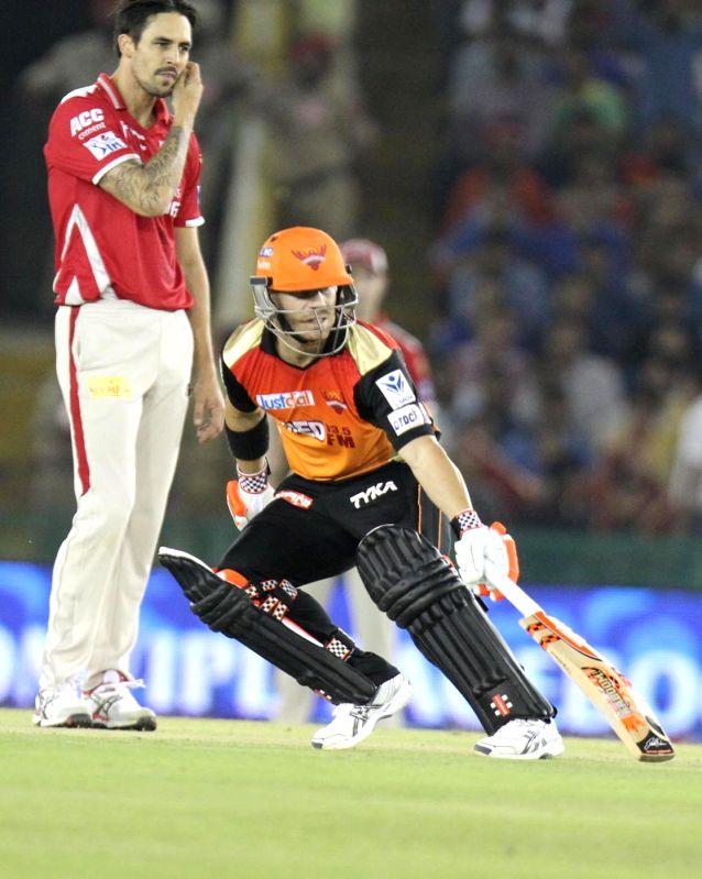 Sunrisers Hyderabad batsman David Warner in action during an IPL-2015 match between Sunrisers Hyderabad  and Kings XI Punjab at  Punjab Cricket Association Stadium in Mohali, Punjab on April ... - David Warner