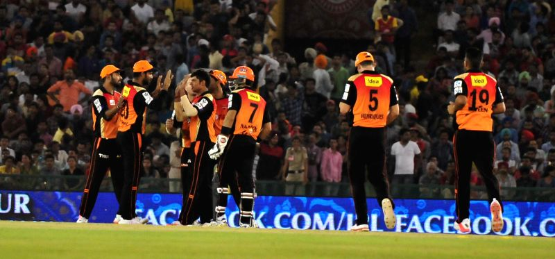 Sunrisers Hyderabad  celebrates fall of a wicket during an IPL-2015 match between Sunrisers Hyderabad  and Kings XI Punjab at  Punjab Cricket Association Stadium in Mohali, Punjab on April ...