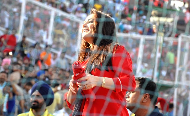 The co-owner of Kings XI Punjab actress Preity Zinta during an IPL-2015 match between Mumbai Indians and Kings XI Punjab at the Punjab Cricket Association Stadium, in Mohali on May 3, 2015. - Preity Zinta