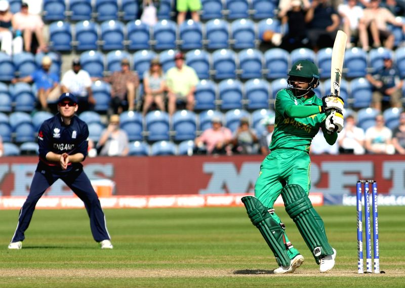 Mohammad Hafeez of Pakistan in action during the first Semi-final match of ICC Champions Trophy between England and Pakistan at Sophia Gardens in Cardiff, Wales, Britain on June 14, 2017.