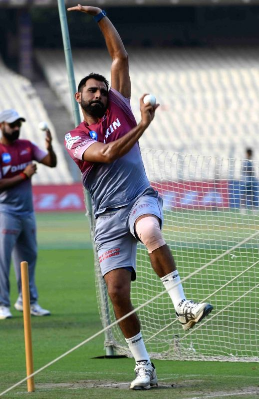 Mohammed Shami of Delhi Daredevils during a practice session at Eden Gardens in Kolkata on April 27, 2017.