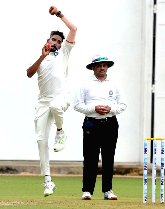 Mohammed Siraj of India A in action on 1st day of the four day test match between India A and South Africa A at M Chinnaswamy Stadium, in Bengaluru on Aug 4, 2018.