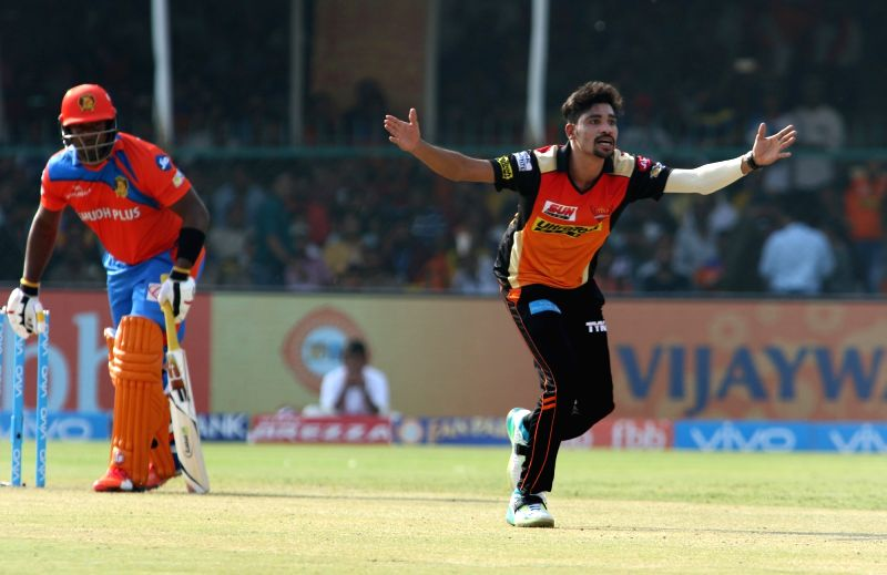 Mohammed Siraj of Sunrisers Hyderabad appeals for a wicket during an IPL 2017 match between Gujarat Lions and Sunrisers Hyderabad at Green Park in Kanpur on May 13, 2017.