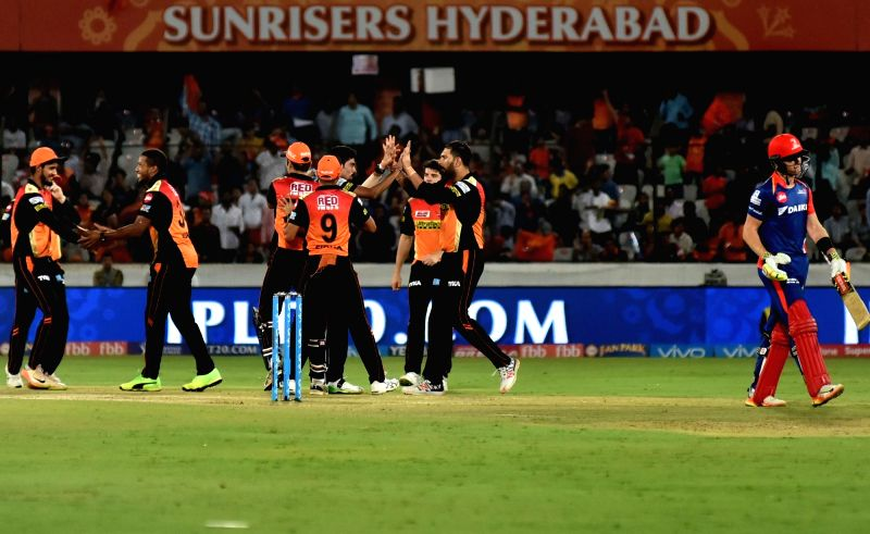 Mohammed Siraj of Sunrisers Hyderabad celebrates fall of a wicket during an IPL 2017 match between Sunrisers Hyderabad and Delhi Daredevils at Rajiv Gandhi International Stadium in ...