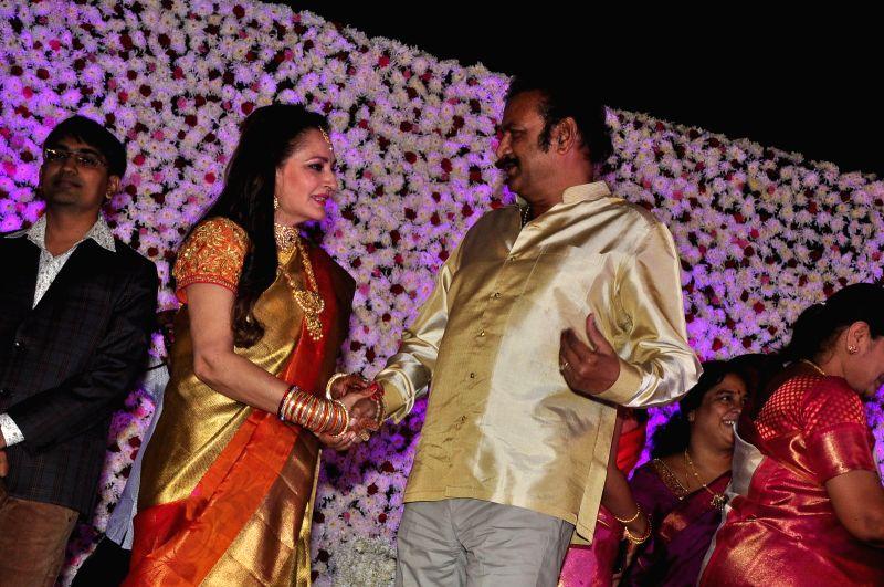 Mohanbabu during the wedding reception of actress Jayaprada`s son Siddharth with Pravallika Reddy in Hyderabad. - Pravallika Reddy