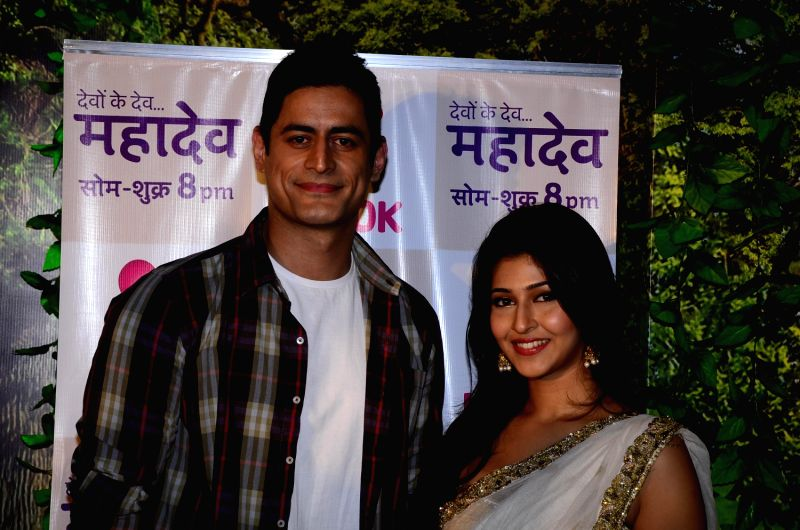 Mohit Raina and Sonarika Bhadoria on the sets on Devon Ke Dev Mahadev.