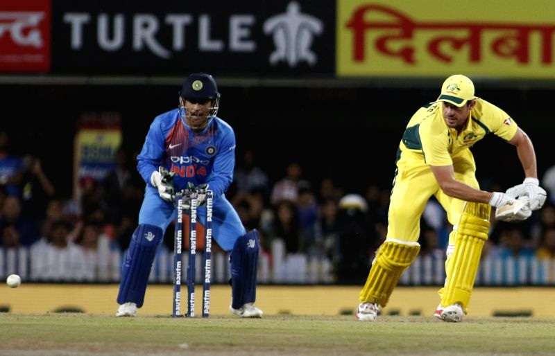 Moises Henriques of Australia in action during the first T20 match between India and Australia at JSCA International Stadium in Ranchi on Oct 7, 2017.