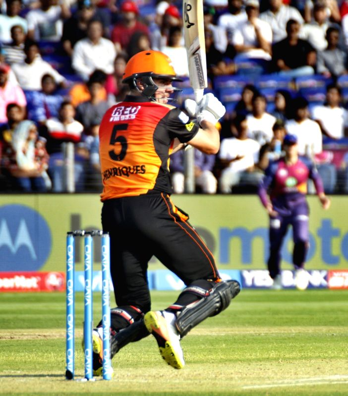 Moises Henriques of Sunrisers Hyderabad in action during an IPL 2017 match between Rising Pune Supergiant and Sunrisers Hyderabad at Maharashtra Cricket Association Stadium in Pune on April 22, ...