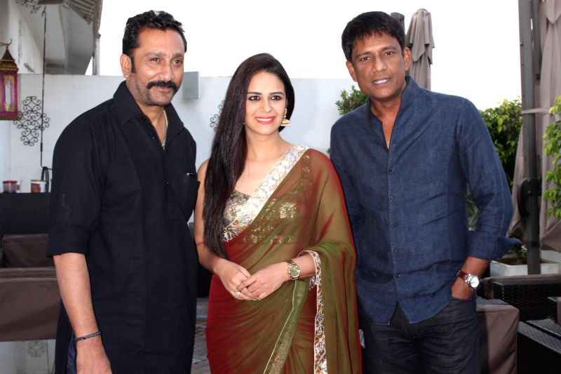 "Mona Singh,Mukesh Tiwari and Adil Hussain at a press meet for upcoming film ""'ZED PLUS'"" in New Delhi on November 21,2014 - Singh"