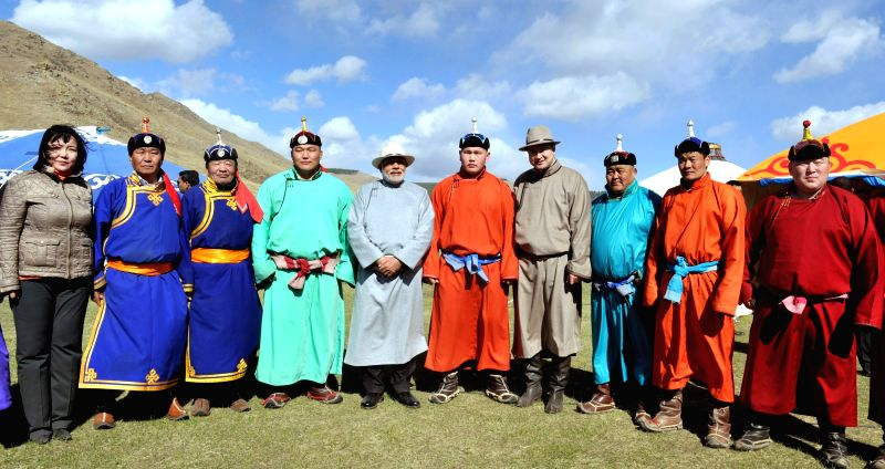 Prime Minister Narendra Modi during a group photograph at Mini Naadam Festival, in Ulaanbaatar, Mongolia on May 17, 2015. - Narendra Modi