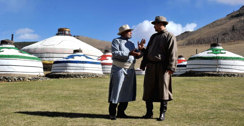 Prime Minister Narendra Modi with the Prime Minister of Mongolia, Chimediin Saikhanbileg at Mini Naadam Festival, in Ulaanbaatar, Mongolia on May 17, 2015. - Narendra Modi