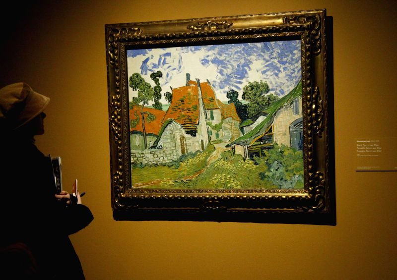 A Visitor appreciates an artwork of Vincent Van Gogh during an exhibition of 2015 European Capital of Culture, in Mons, Belgium, Jan. 23, 2015. (Xinhua/Wang ...
