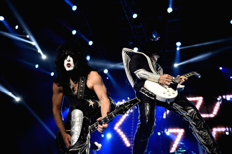 "Gene Simmons (R) and Paul Stanley (L) of the U.S. band ""Kiss"" perform during a concert of the tour ""40th Anniversary"" in the Gran Parque ..."