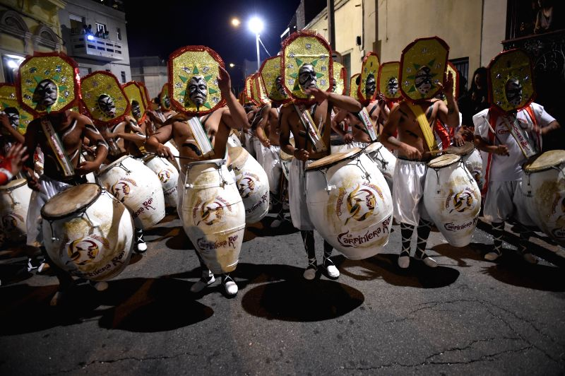 Drummers participate during the Call Parade in Montevideo, capital of Uruguay, on Feb. 5, 2015. The parade with the participation of at least 40 casts, is made ...