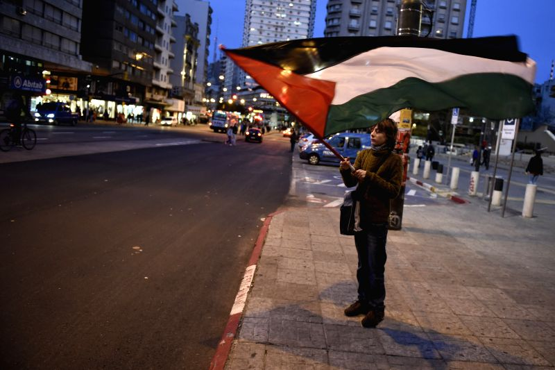 A person waves a Palestine flag during a protest against the Israeli airstrikes on Gaza Strip, in Montevideo, capital of Uruguay, on July 17, 2014. ...