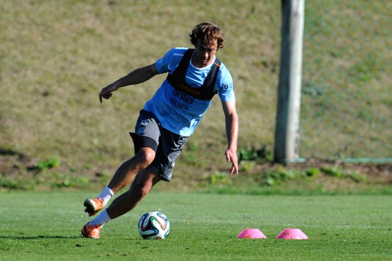 Player of the Uruguayan national football team Diego Lugano attends a training sesion, prior to the 2014 FIFA World Cup Brazil, in the High Performance Complex ...