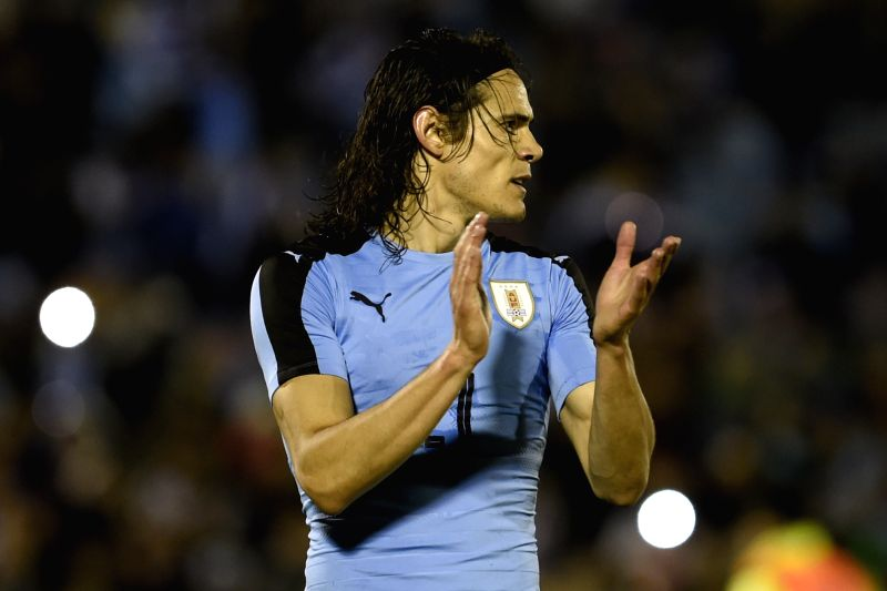 MONTEVIDEO, May 28, 2016 - Uruguay's Edinson Cavani celebrates after scoring during the international friendly match against Trinidad and Tobago in Montevideo, Uruguay, on May 27, 2016.