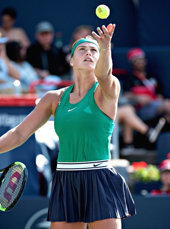 MONTREAL, Aug. 10, 2018 - Aryna Sabalenka of Belarus serves during the women's singles second round match against Caroline Wozniacki of Denmark at the 2018 Rogers Cup in Montreal, Canada, on Aug. 9, ...