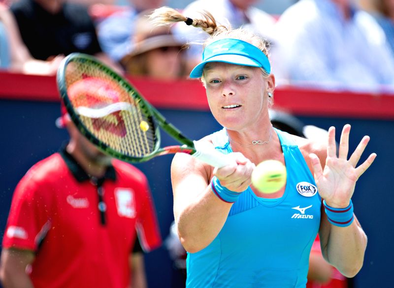 MONTREAL, Aug. 11, 2018 - Kiki Bertens of the Netherlands returns the ball to Ashleigh Barty of Australia during the quarterfinal match of women's singles at the 2018 Rogers Cup in Montreal, Aug. 10, ...