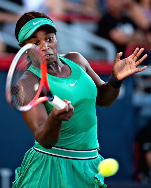 MONTREAL, Aug. 12, 2018 - Sloane Stevens of the United States returns the ball to Elina Svitolina of Ukraine during the semifinal match of women's singles at the 2018 Rogers Cup in Montreal, Aug. 11, ...