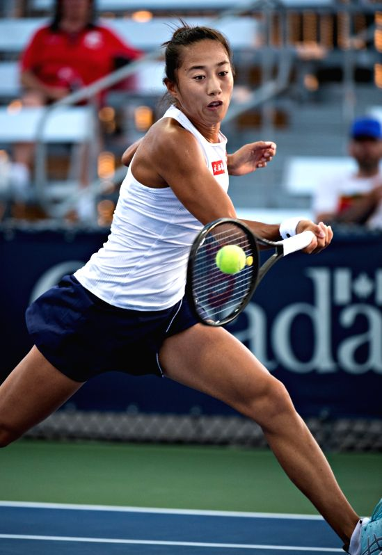 MONTREAL, Aug. 8, 2018 - Zhang Shuai of China hits a return during the first round of women's singles match against Barbora Krejcikova of the Czech Republic at the 2018 Rogers Cup in Montreal, ...