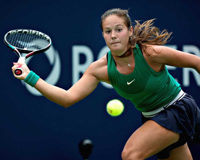 MONTREAL, Aug. 9, 2018 - Daria Kasatkina of Russia hits a return during the second round of women's singles match against Maria Sharapova of Russia at the 2018 Rogers Cup in Montreal, Canada, Aug. 8, ...