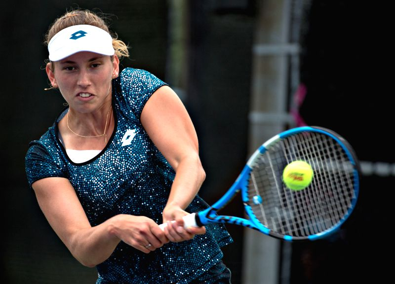 MONTREAL, Aug. 9, 2018 - Elise Mertens of Belgium hits a return during the second round of women's singles match against Zhang Shuai of China at the 2018 Rogers Cup in Montreal, Canada, Aug. 8, 2018. ...