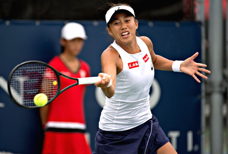 MONTREAL, Aug. 9, 2018 - Zhang Shuai of China hits a return during the second round of women's singles match against Elise Mertens of Belgium at the 2018 Rogers Cup in Montreal, Canada, Aug. 8, 2018. ...