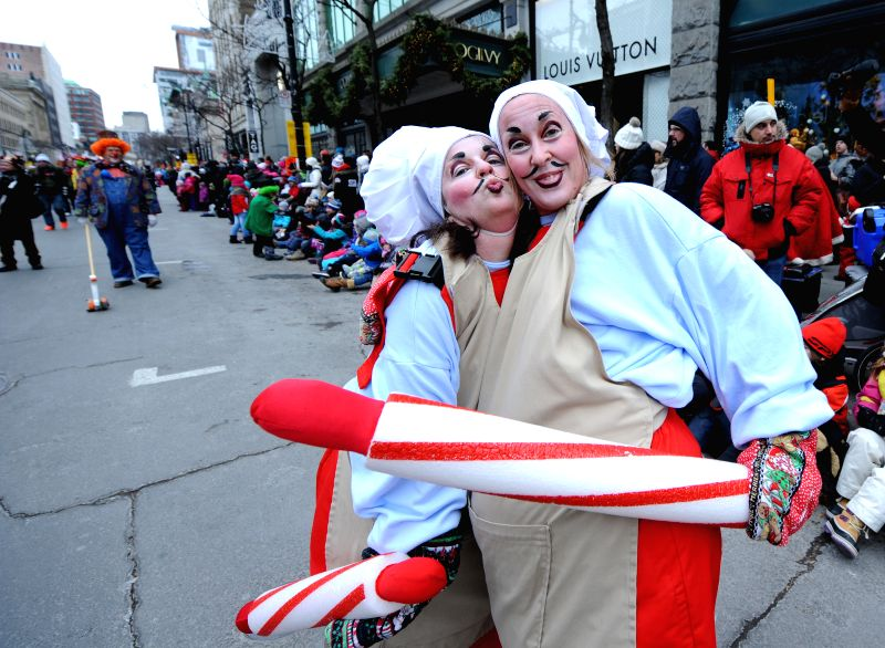 Montreal (Canada):Montreal's annual Santa Claus parade is held in Montreal's downtown core on Nov. 22, 2014. There are more than 1,000 performers including acrobats, dancers and clowns on various ...
