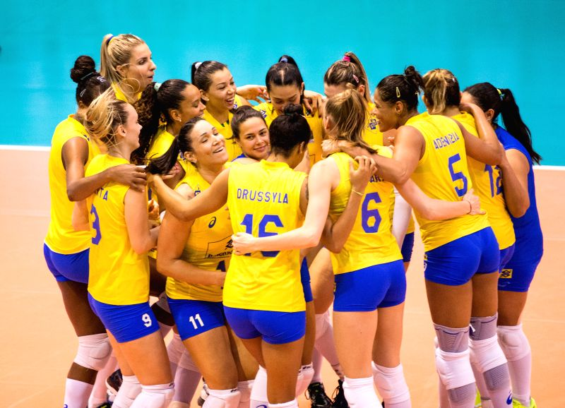 MONTREUX, June 11, 2017 - Brazilian players celebrate after the semifinal match between China and Brazil at 2017 Montreux Volleyball Masters in Montreux, Switzerland, on June 10, 2017. China lost 1-3.
