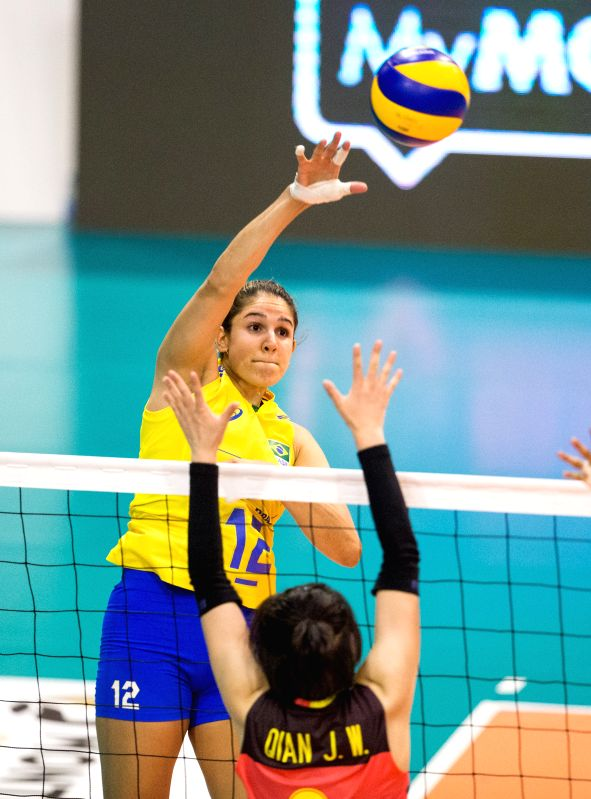 MONTREUX, June 11, 2017 - Natalia Pereira of Brazil spikes the ball during the semifinal match between China and Brazil at 2017 Montreux Volleyball Masters in Montreux, Switzerland, on June 10, 2017. ...