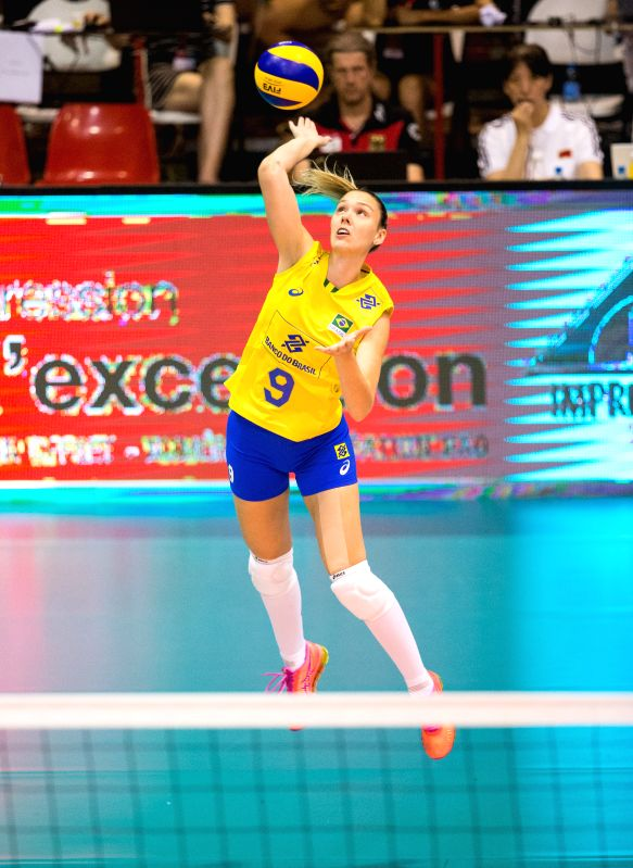 MONTREUX, June 11, 2017 - Roberta Silva Ratzke of Brazil serves during the semifinal match between China and Brazil at 2017 Montreux Volleyball Masters in Montreux, Switzerland, on June 10, 2017. ...