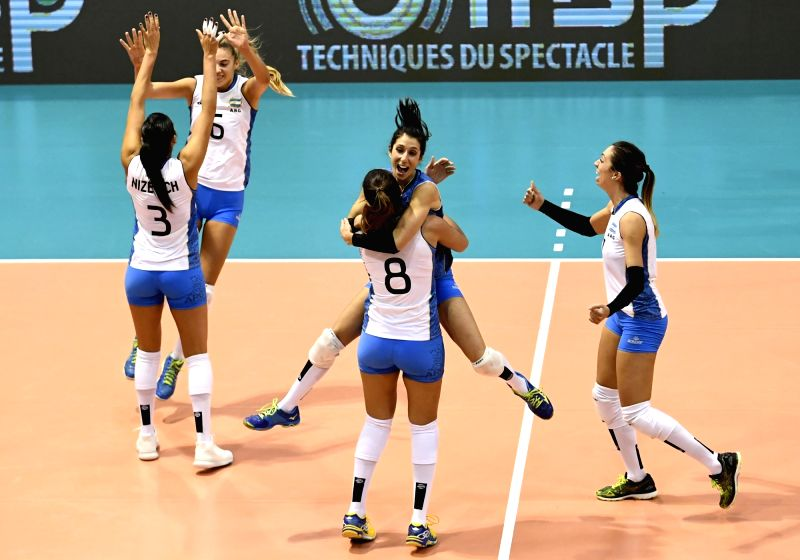MONTREUX, June 9, 2017 - Players of Argentina celebrate during the Pool A match between China and Argentina at 2017 Montreux Volleyball Masters in Montreux, Switzerland, on June 8, 2017. Argentina ...