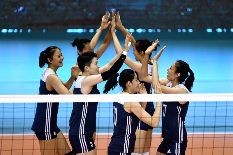 MONTREUX, June 9, 2017 - Players of China celebrate during the Pool A match between China and Argentina at 2017 Montreux Volleyball Masters in Montreux, Switzerland, on June 8, 2017. Argentina won ...