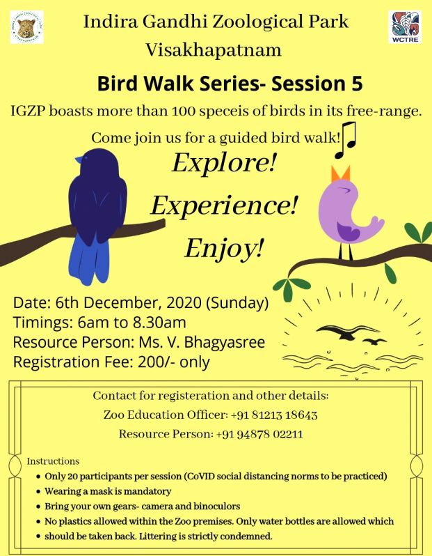 More bird walks in Vizag Zoo due to good response.