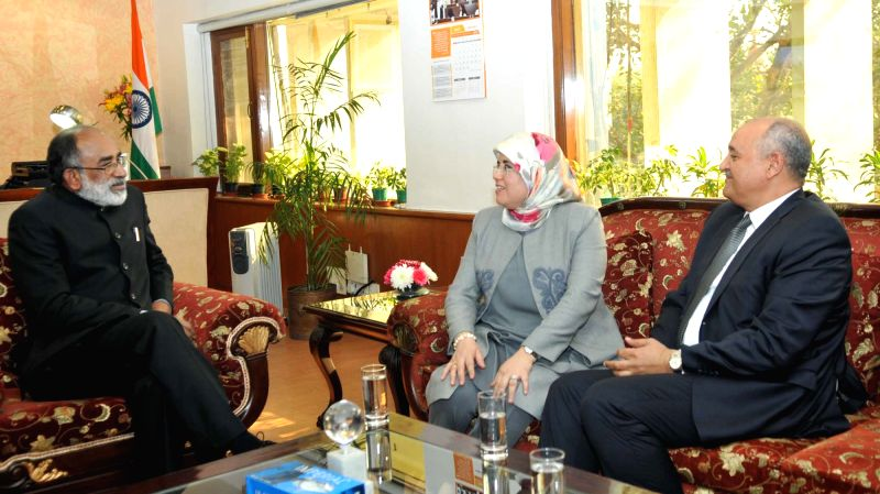 Moroccan Secretary of State to the Minister of Tourism, Air Transport Handicraft and Social Economy Jamila El Mossali calls on Union Tourism Minister Alphons Kannanthanam in New Delhi on ... - Alphons Kannanthanam