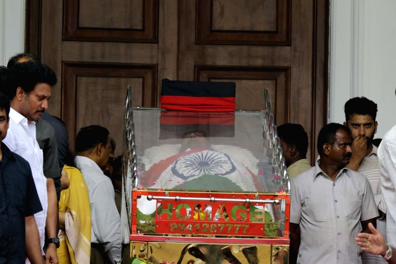 : Mortal remains of DMK patriarch M. Karunanidhi kept at Rajaji Hall in Chennai on Aug. 8, 2018. (Photo: IANS).