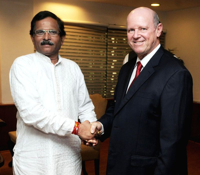 MoS Culture (Independent Charge) and Tourism (Independent Charge) Shripad Yesso Naik during a meeting with Minister for Tourism & Culture of Seychelles Alain St. Ange  in New Delhi on August 04, .