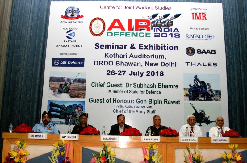 MoS Defence Subhash Bhamre, Chief of the Army Staff General Bipin Rawat and other dignitaries at the inauguration of Air Defence India 2018 Seminar and Exhibition in New Delhi on July 26, ...