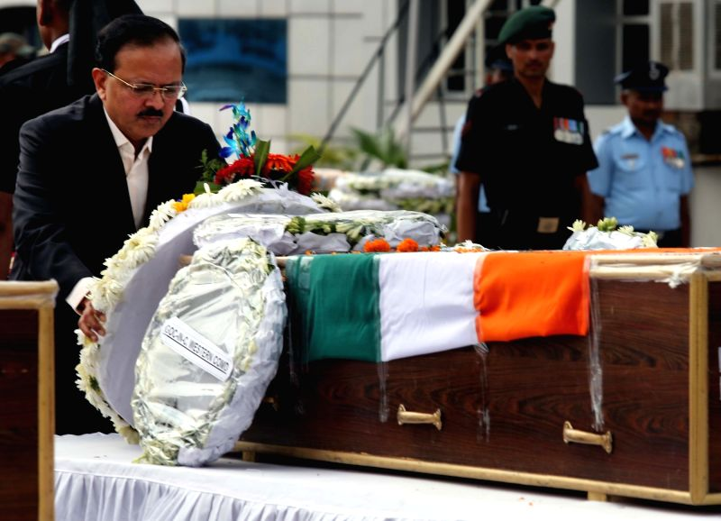 MoS Defence Subhash Bhamre pays homage to Major Kaustubh P. Rane, Vikramjit Singh, Mandip Singh and Hameer Singh, the four Army men who were killed in Tuesday's encounter with terrorists ... - Vikramjit Singh, Mandip Singh and Hameer Singh