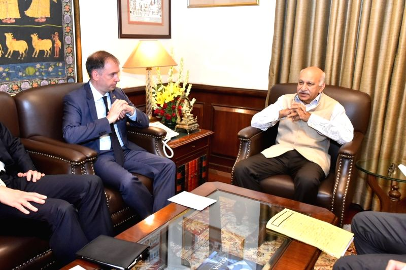 MoS External Affairs M.J. Akbar meets German MoS Foreign Affairs Niels Annen, in New Delhi on July 17, 2018.