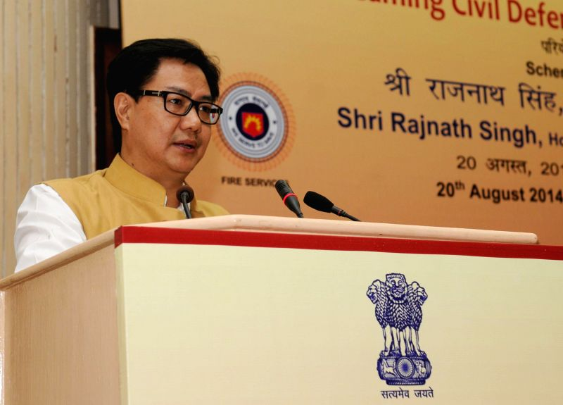 MoS Home Affairs Kiren Rijiju addresses at the launch of plan scheme of `Mainstreaming Civil Defence in Disaster Risk Reduction`, in New Delhi on August 20, 2014.