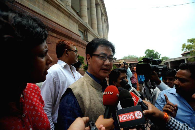 MoS Home Affairs Kiren Rijiju addresses press at the Parliament in New Delhi on July 15, 2014.