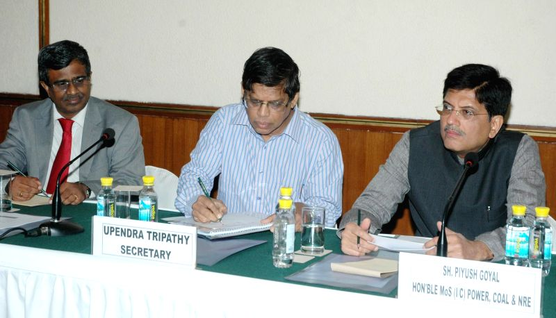 MoS Independent Charge) for Power, Coal and New and Renewable Energy Piyush Goyal during a meeting with Wind Power Manufacturers and Independent Power Producers in New Delhi on July 1, 2014. Also ...