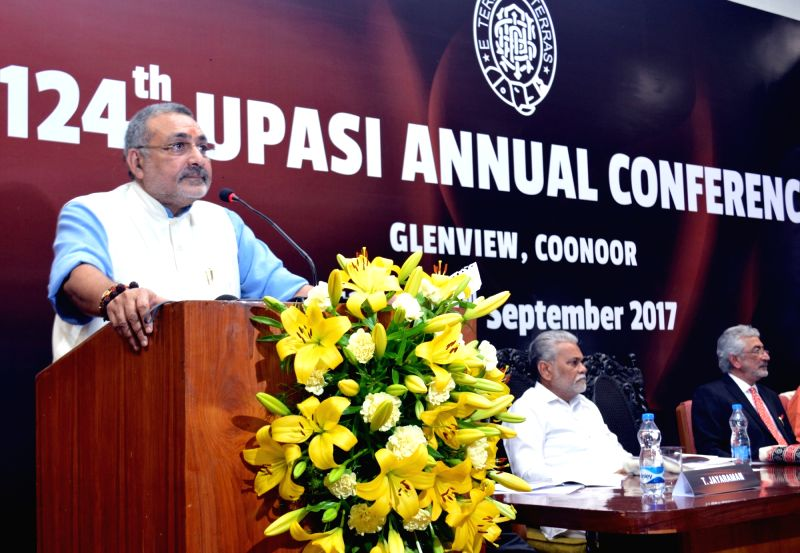MoS Micro, Small and Medium Enterprises (I/C) Giriraj Singh addresses during the 124th UPASI annual conference, in Coonoor, Nilgris district, Tamil Nadu on Sept 13, 2017. Also seen MoS ... - Giriraj Singh