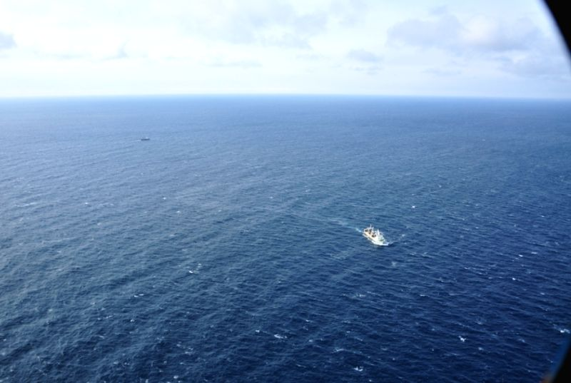 A rescue vessel is seen after a trawler sank in the Sea of Okhotsk off the Kamchatka Peninsula, April 2, 2015. At least 54 people have been confirmed dead in the ...