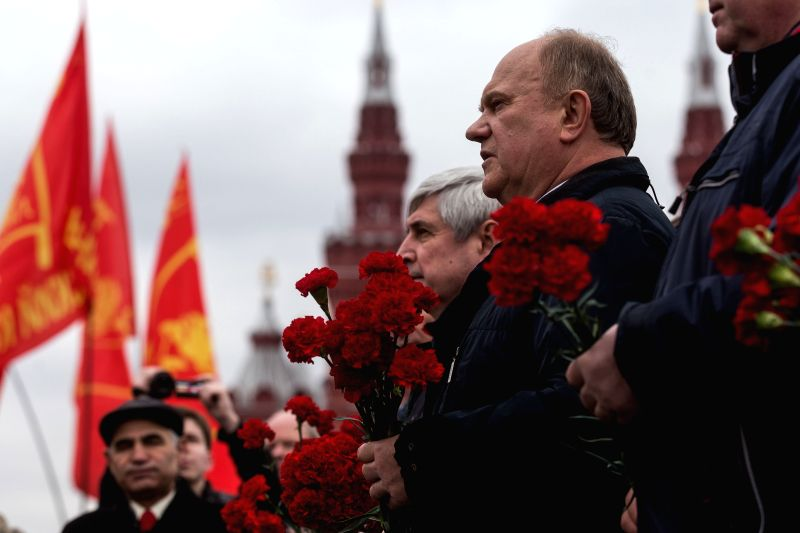 MOSCOW, April 22, 2017 - Gennady Zyuganov (1st R), leader of the Russian Communist Party, attends a laying flower ceremony at Lenin's mausoleum in Moscow, Russia, on April 22, 2017. People ...