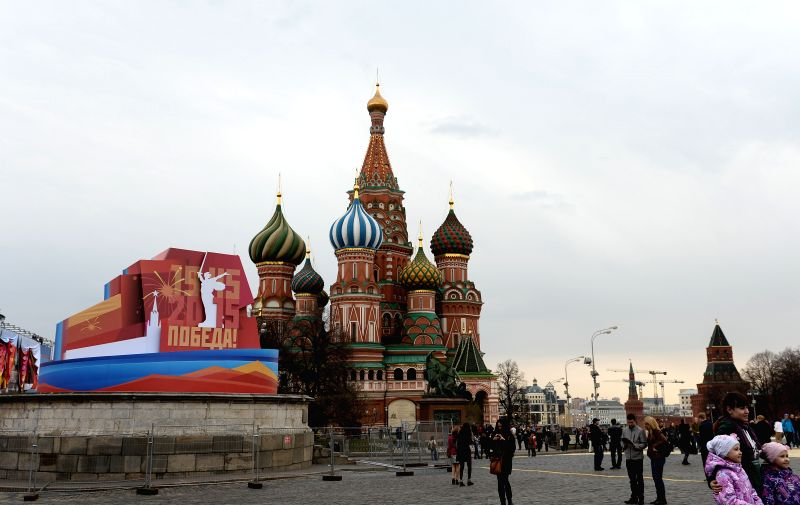 Photo taken on April 26, 2015 shows the Red Square in Moscow, Russia, ahead of the Victory Day parade to commemorate the 70th anniversary of World War II (WWII) on ...