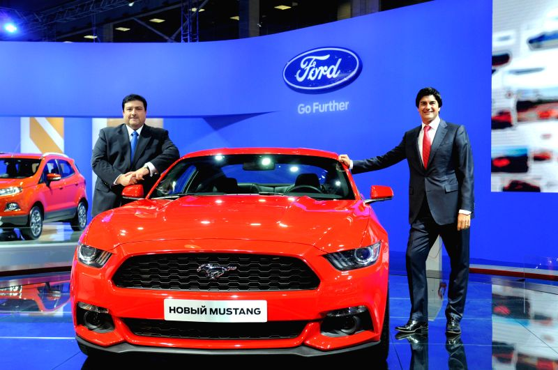 A Ford Mustang is seen during the Moscow International Automobile Salon in Moscow, Russia, on August 27, 2014. The Automobile Salon will last till September ...