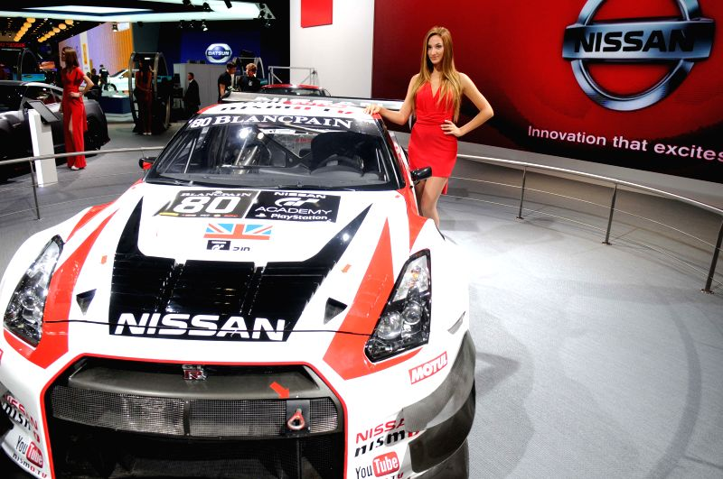 The booth of Nissan is seen during the Moscow International Automobile Salon in Moscow, Russia, on August 27, 2014. The Automobile Salon will last till September ...